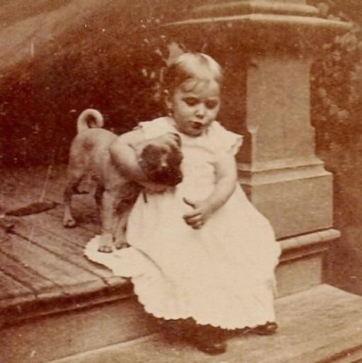 Victorian Pug Puppy in Headlock Hug by Toddler~Antique Dog Stereoview Photograph