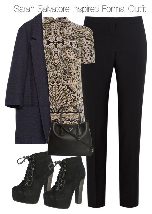 """Sarah Salvatore Inspired Formal Outfit"" by staystronng ❤ liked on Polyvore featuring Paul Smith Black Label, Oasis, Zara, Breckelle's, Prada, formal, tvd and sarahsalvatore"