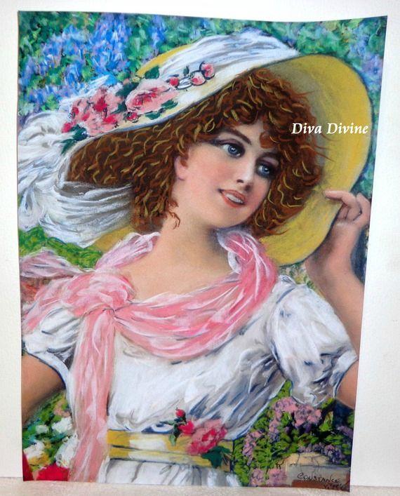 Peinture Pastel Sec pour Tableau Rétro, Victorien,  ° CONSTANCE° - PEINT A LA MAIN - PASTEL SEC