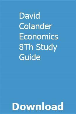 David Colander Economics 8. Studienführer pdf download   – anwinhendver