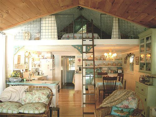 What a sweet little cabin!  I love this layout.  If it's 15' across and let's say you make it 45' long, with a bedroom, bath, and utility area behind the kitchen (under the loft, leaving the kitchen open overhead), that's STILL only 600 sf, not including the loft.  Add a good porch and patio area and you're all set.