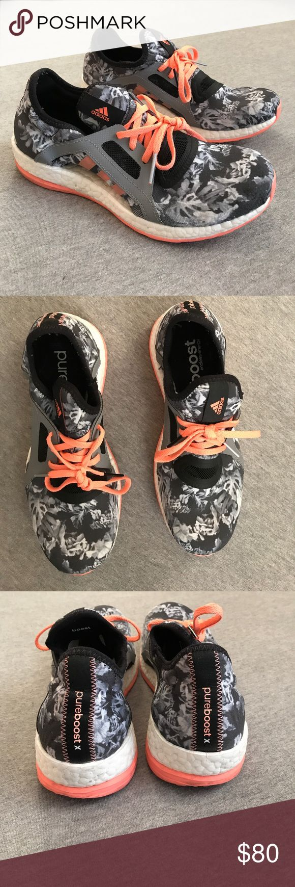 Adidas Pure Boost Gently used Adidas Pure Boost tennis shoes. Only worn a few times on a track! Pretty black and white abstract Floral pattern with pops of coral! adidas Shoes Athletic Shoes