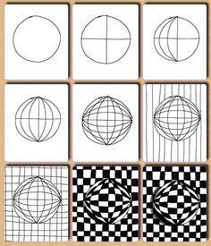 Fru Billedkunst - glimt fra min billedkunstundervisning: Op art - 2.del: kugler