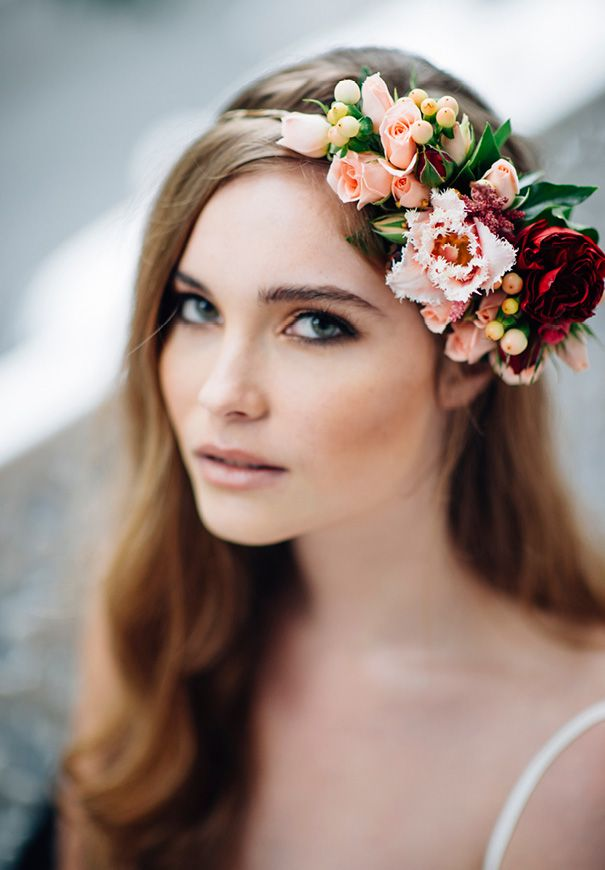 bride make up + side floral garland