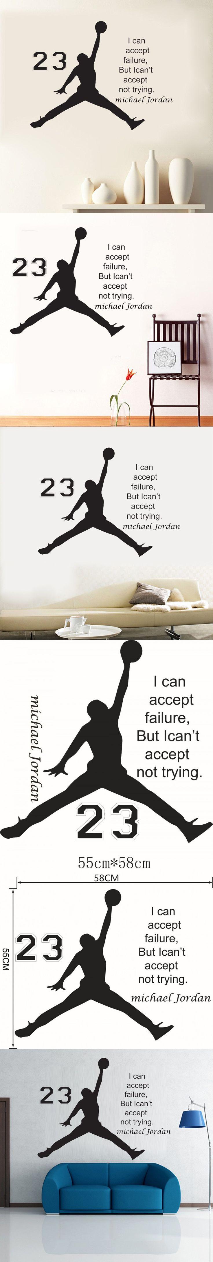 1pcs Michael Jordan Basketball Inspirational Wall Sticker Quotes Vinyl Wall  Decals Art Kids Children Room Bedroom Part 52