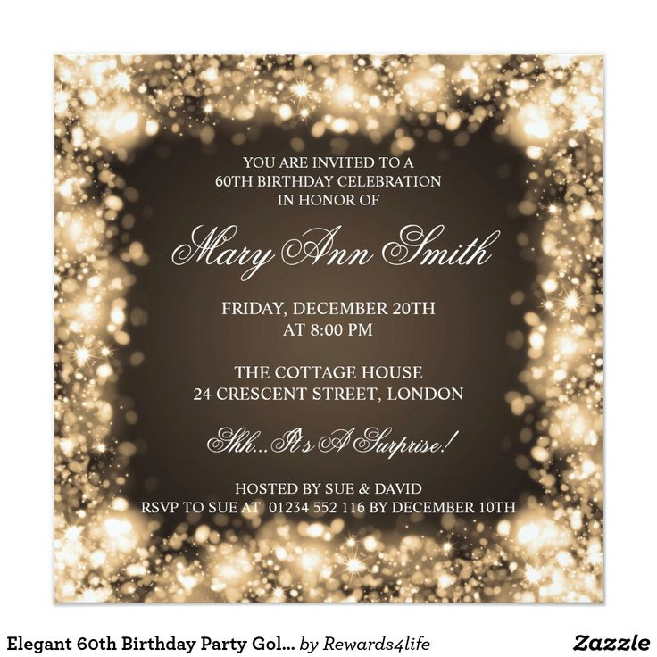 company christmas party invitation templates%0A Elegant   th Birthday Party Gold Sparkling Lights Card