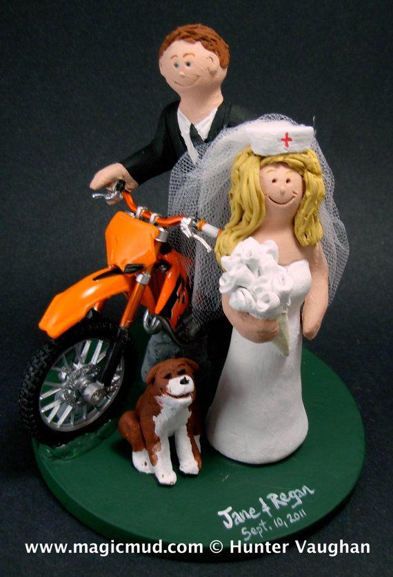 Dirt Bike Motorcycle Wedding Cake Topper    Any style of dirt bike motorcycle can be incorporated into your off road wedding cake topper,,, KTM, Honda, Suzuki,Yamaha, Kawasaki….    $235   #magicmud   1 800 231 9814   www.magicmud.com