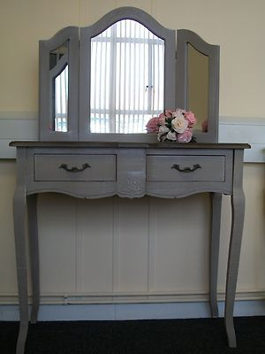 French Country dressing table and mirror  vintage chic bedroom furniture