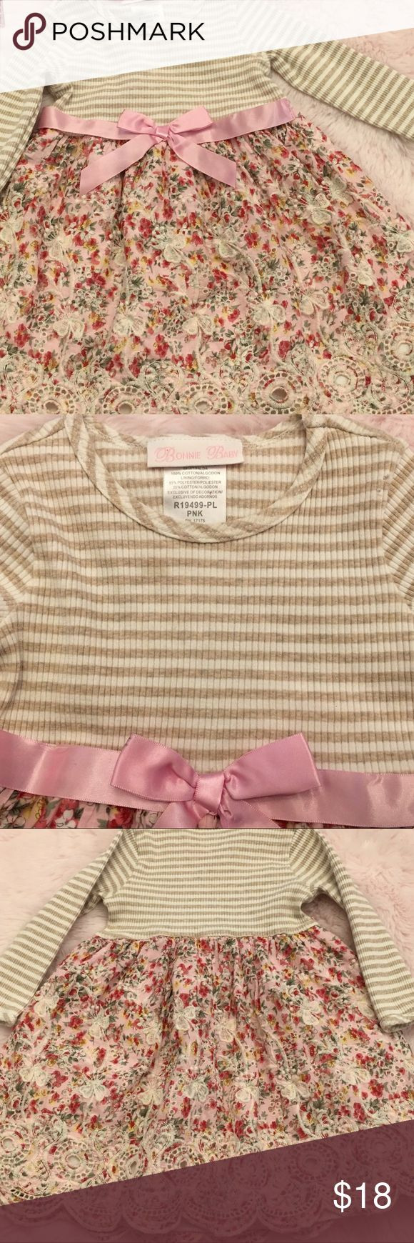 Toddler Girl Dress by Bonnie Baby Pink Floral 24mo Adorable dress, pink floral & cream scalloped frilly hem mixed with the khaki @ cream long sleeve top portion make a combined striking dress. Pink satin ribbon @ waistline. Casual & comfortable. Wash & dry. EUC! Bonnie Baby Dresses Casual