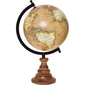 Brown World Globe Ornament