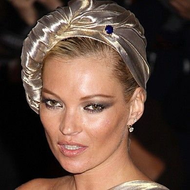 Kate Moss in gold turban by Marc Jacobs