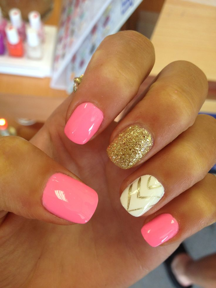 Pink and gold acrylic nails nails pinterest acrylics for Acrylic nail decoration