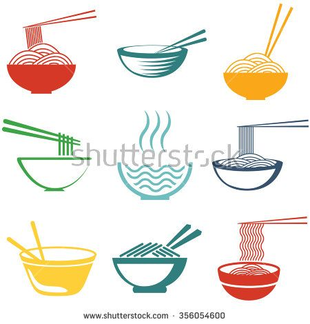 Set of noodles or spaghetti in different dishes. Colored on white. Vector. Noodle logo. Noodle image. Noodle set. Noodle shape