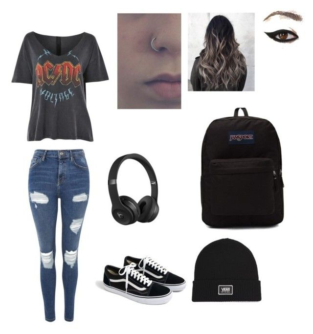 Rebel with a cause by izzyvb on Polyvore featuring polyvore, fashion, style, Topshop, J.Crew, JanSport, Vans, Beats by Dr. Dre and clothing