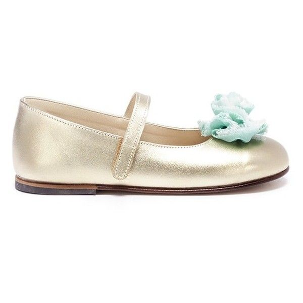 425147fdf43e Babywalker Floral appliqué leather Mary Jane toddler flats (825 NOK) ❤  liked on Polyvore featuring shoes