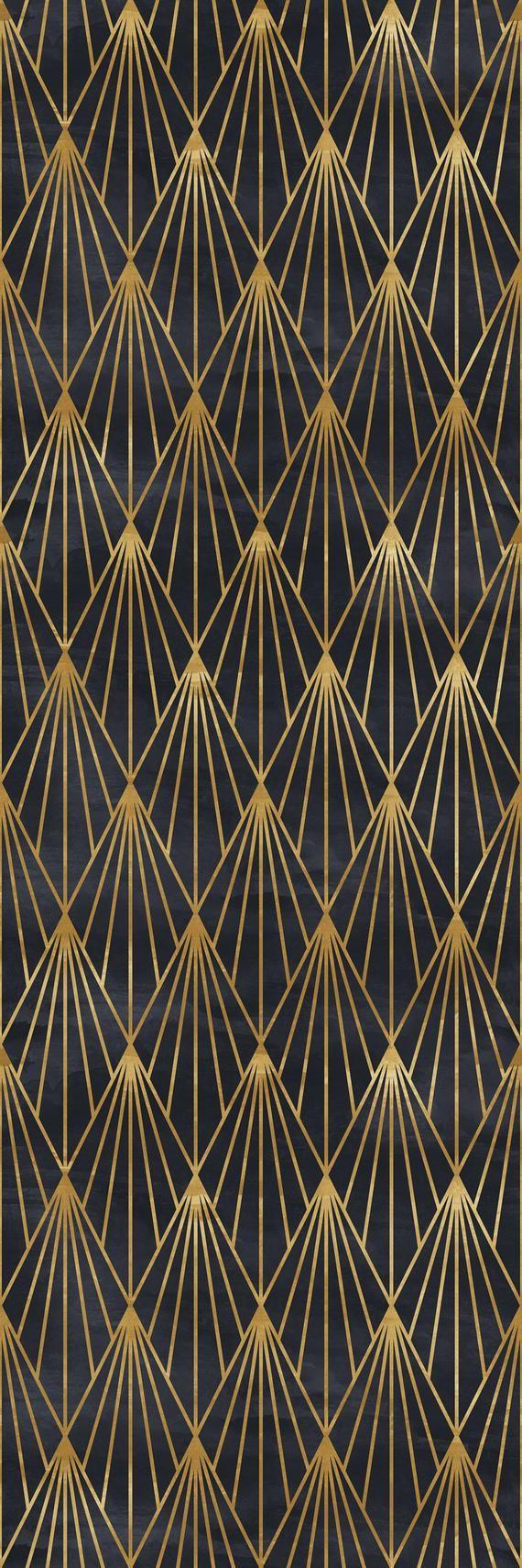 Removable Wallpaper Mural Peel Stick Gatsby Black And Gold Etsy Art Deco Wallpaper Art Deco Pattern Mural Wallpaper