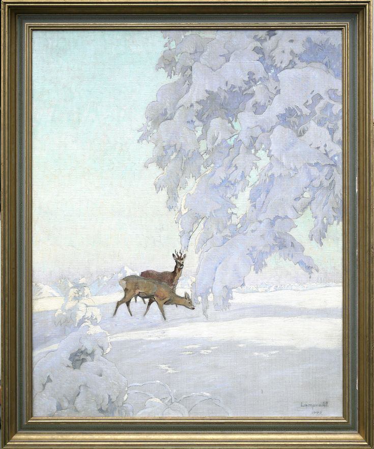 Deers in winter morning   100cm x 80cm   Antiques Missaglia - Italy