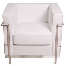 Lecorbusier Pe Confort Club Chair White Leather Seat And Cushions With Chrome Frame
