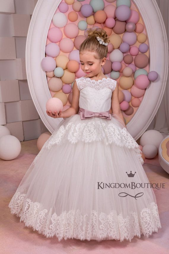 Ivory Lace Flower Girl Dress - Birthday Holiday Wedding Party  Bridesmaid Ivory Tulle Lace Flower Girl Dress 14-1053