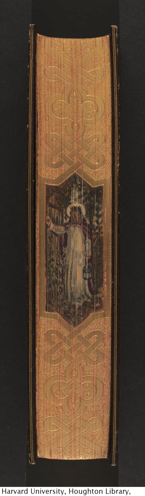 """The imitation of Christ, 1889. Bound in crushed morocco, gilt-tooled doublures, satin endpapers, by Fazakerley, edges gilt and gauffered, with fore-edge painting of Jesus based on William Holman Hunt's painting """"The Light of the World,"""" 1854."""