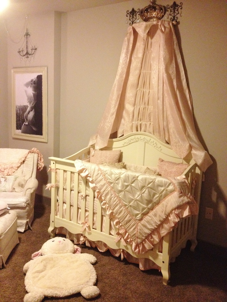 The finished product! Baby girl vintage feminine fairytale nursery peach and cream lambs crowns princess