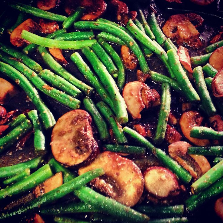 ... green beans with bacon mushrooms herbs polenta with green beans