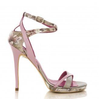 sandale dama din piele naturala 1506 flori gri cu roz