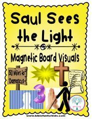 Acts 8:1-3; 9:1-3; Paul's Conversion & Baptism-Saul Sees the Light Magnetic Board Visuals