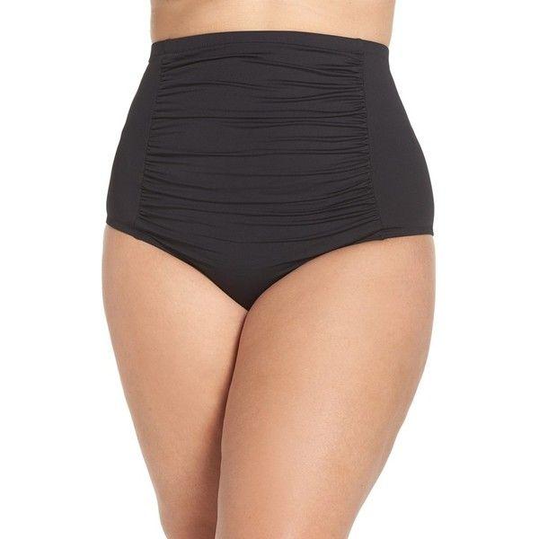 Plus Size Women's Becca Etc. Color Code High Waist Bikini Bottoms (75 CAD) ❤ liked on Polyvore featuring swimwear, bikinis, bikini bottoms, black, plus size, ruched bikini bottom, plus size high waisted bikini bottoms, high rise bikini, retro bikini and plus size high waisted bikini