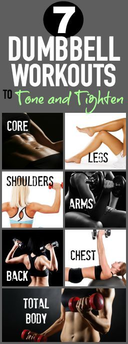 7 Dumbbell Workouts - one for each body part - on Tone-and-Tighten.com