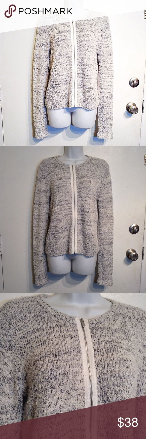 """LOFT Space Dye Marled Knit Zip Up Sweater Jacket Ann Taylor LOFT grey and white space dyed marled knit zip up sweater jacket. Warm and cozy. Neutral and chic. Perfect for layering at the office. Size medium. Has stretch, Measures 20"""" flat from armpit to armpit and 25.5"""" long. No modeling. Smoke free home. I do discount bundles. LOFT Sweaters"""