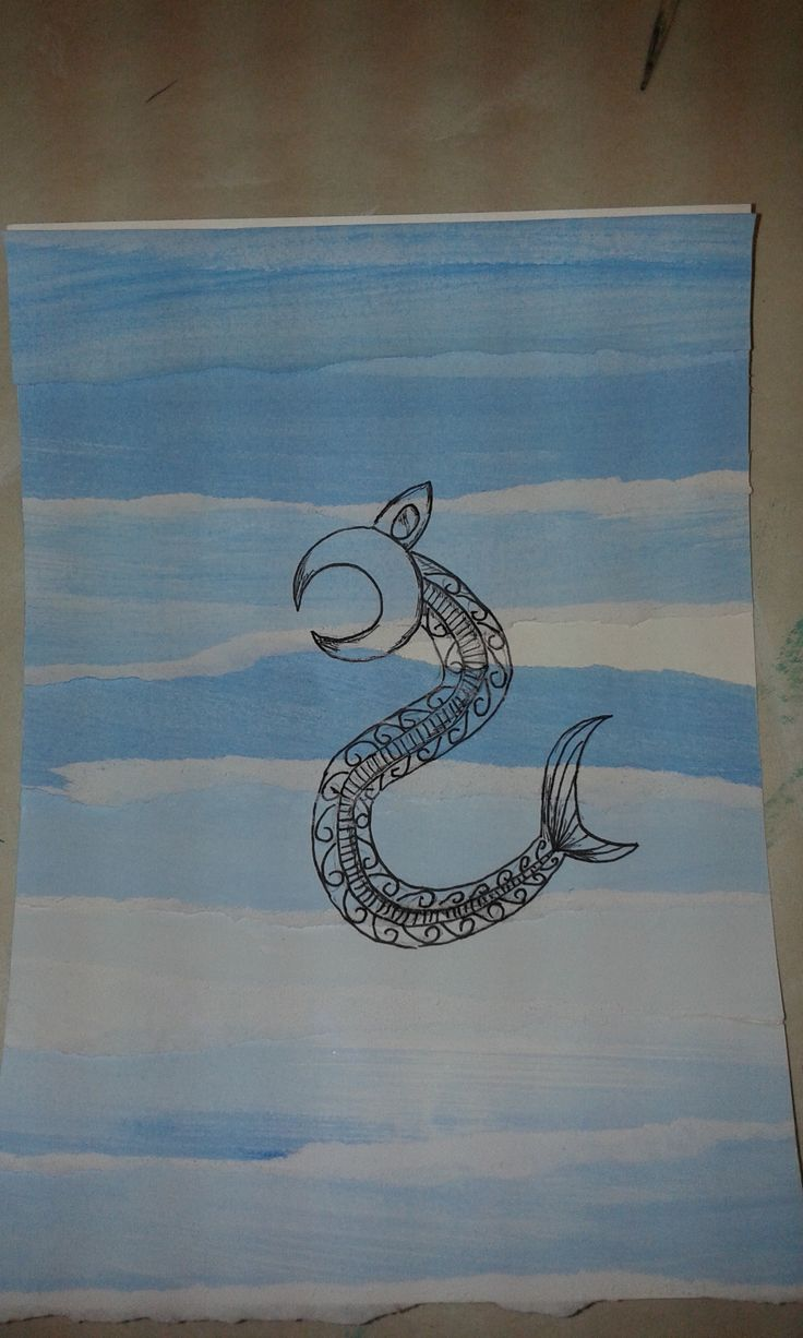 Taniwha on collage background