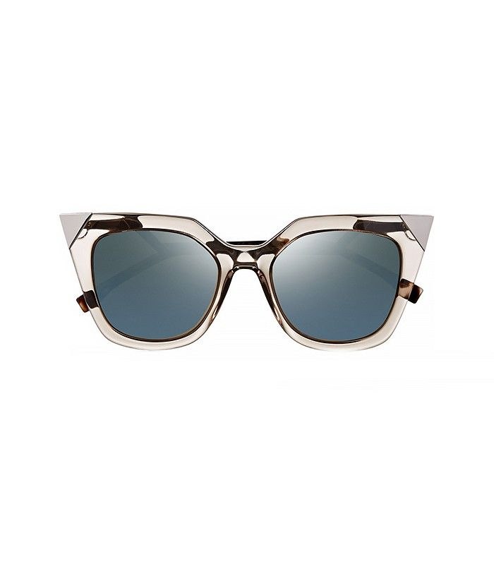 Embellished Cat-Eye Acetate Mirrored Sunglasses via @WhoWhatWear