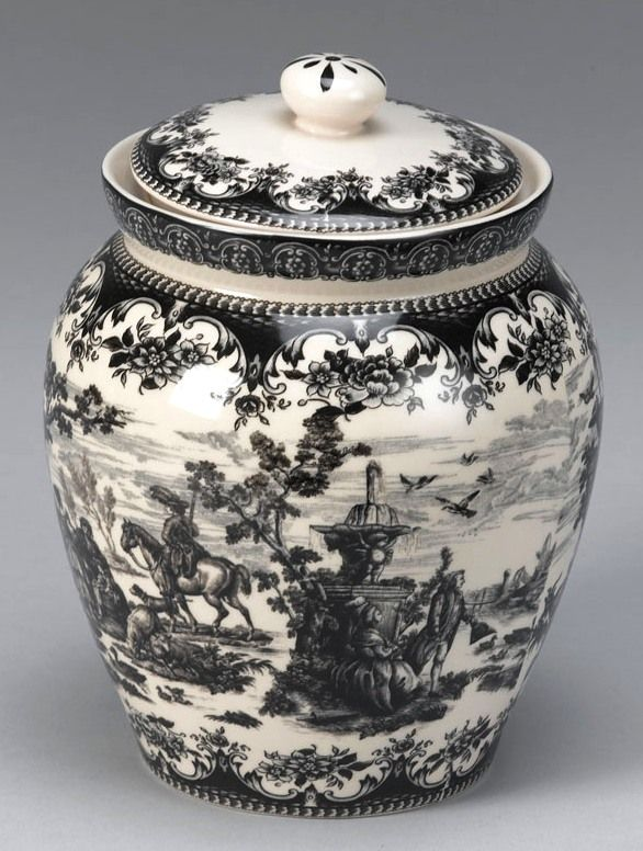 Black Victorian Toile Porcelain Biscotti or Cookie Jar