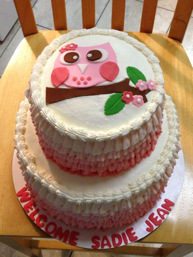 Owl Baby Shower Cake. Ombre Pink Buttercream Ruffles with ...