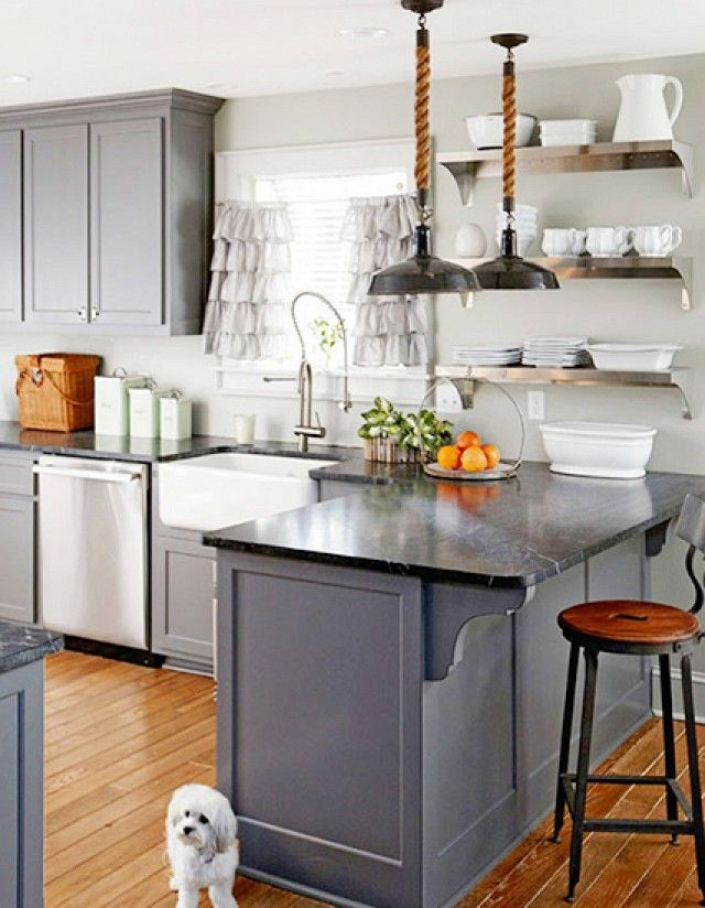 Having a Moment Blue Gray Kitchen Cabinets  DomaineHome com