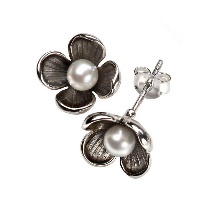 Silver & Pearl Flower Stud Earrings From Pearls By Fleur PBFE020