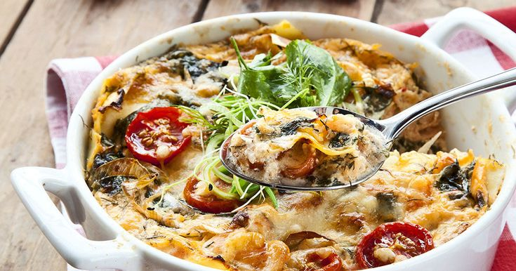 Krämig lasagne med lax och räkor