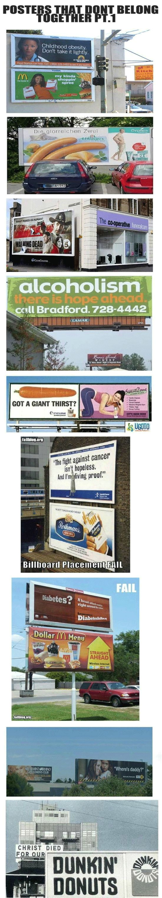Hahaha, posters that DO NOT belong together.Picture-Black Posters, Advertising Fail, Advertising Placements, Funny Pictures, Fun Stuff, Billboard Fail, Funny Stuff, Christ The, Belong Together