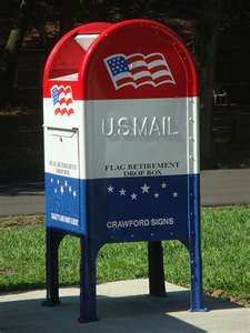USA Mailbox - I am so sorry they aren't painted this way anymore.  And in our city of Pueblo, CO they have eliminated 1/2 or the boxes because of the budget cuts...everyone has to take their mail to the post office now...we are a community of over 100,000.  I think the word service should be taken out of their name...just US Postal.
