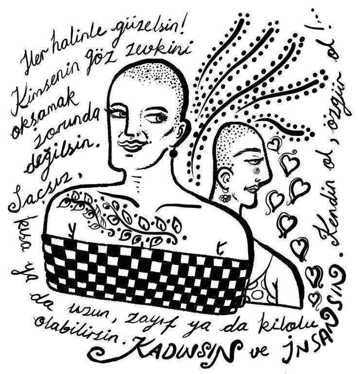 #kadın #ayşenbaloğlu #kadınhakları #kendinol #feminist #güzellik # estetik #woman #beauty #çizim #vinyet #sanat #illüstrasyon