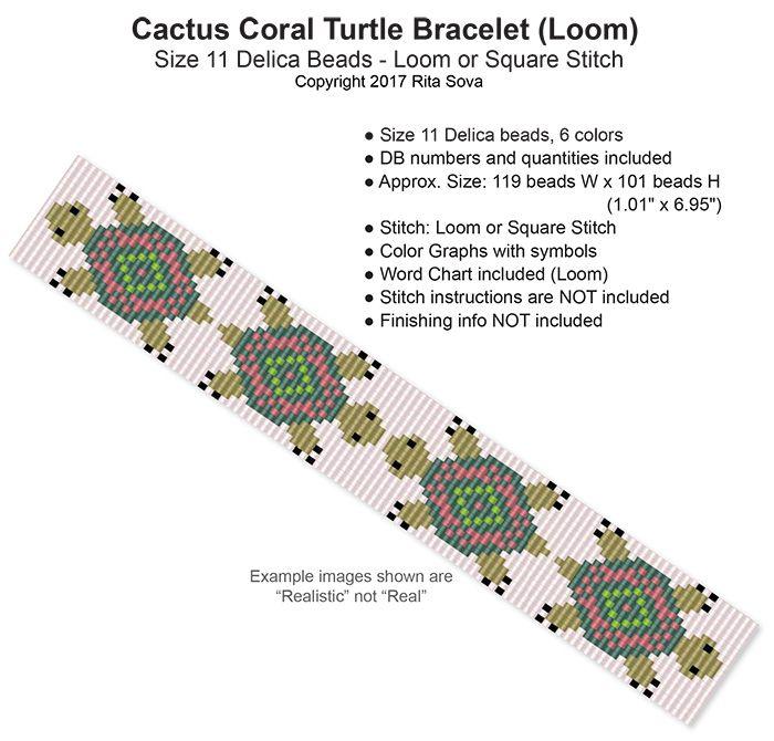 Cactus Coral Turtle Bracelet (Loom) | Bead-Patterns