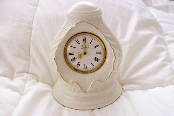 Vintage Belleek China Mantle Clock  Purchased by GiftsFromFlutters, $74.95