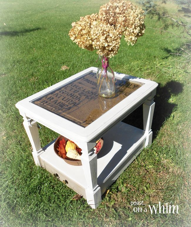 Burlap Table Makeover - I've never really cared for glass tabletops. So, when I got this table from a friend, I figured I would lose the glass altogether. I end…