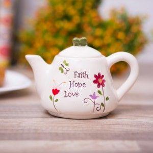 Ceainic vesel cu mesaj :) #faith #hope #love