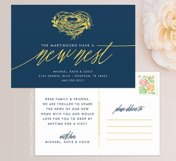 New Nest Moving Announcement Postcard / Magnet / Flat Card - New Home Card, New Address Card, New Home Announcement, Change of Address Card