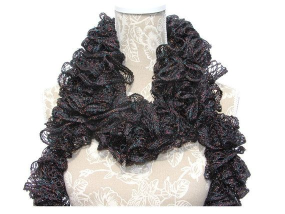 Black Onyx Frilly Scarf  Metallic Ruffled Scarf Sashay by CCBR2014
