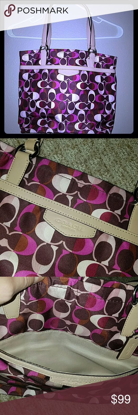 Coach Tote/Purse Multi colored (pink/fushia/purple/tan) Coach tote/Purse. Fabric, zipper closure top, outside open pocket, 2 open pockets inside purse, zipper pocket inside. Stitching intact. Pre-owned. Coach Bags Shoulder Bags