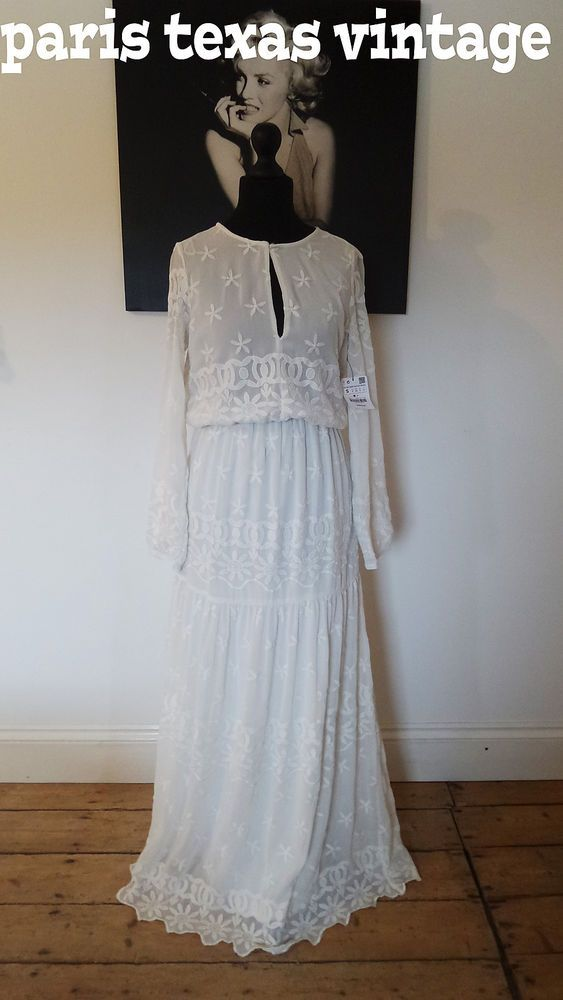 Boho Wedding Dress Florida : Bnwt zara embroidered white dress maxi boho hippie wedding