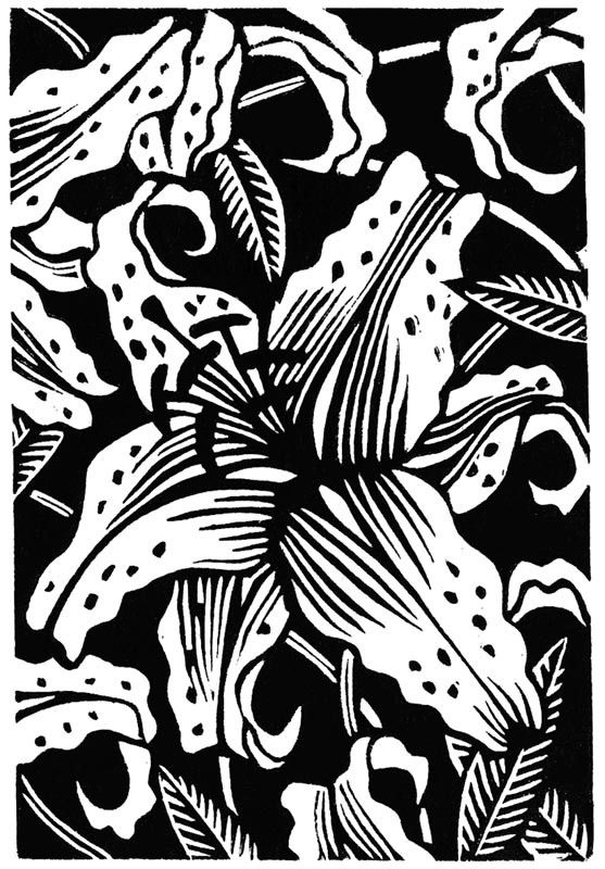 Spotted Lilies linocut by WingedLion on Etsy